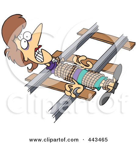 Royalty-Free (RF) Clip Art Illustration of a Cartoon Damsel In Distressed, Tied To Railroad Tracks by toonaday