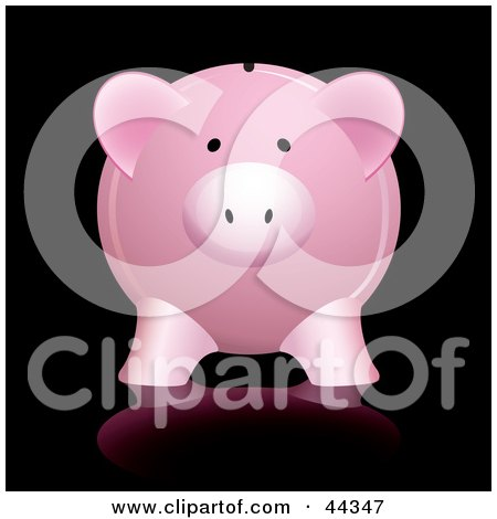 Royalty-free (RF) Clip Art Of Pink Piggy Bank With Shadow Against Black Background by michaeltravers