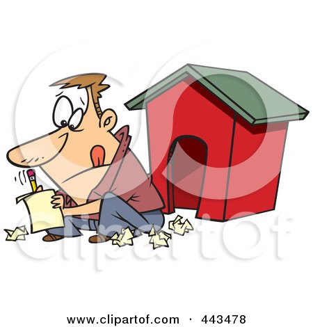 Royalty-Free (RF) Clip Art Illustration of a Cartoon Man Writing A Letter By A Dog House by toonaday