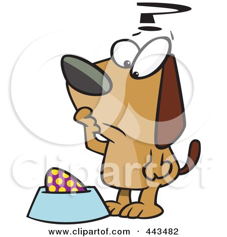 Royalty-Free (RF) Clip Art Illustration of a Cartoon Confused Dog Staring At An Egg In His Dish by toonaday