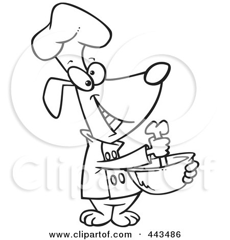 Royalty-Free (RF) Clip Art Illustration of a Cartoon Black And White Outline Design Of A Chef Dog Mixing With A Bone by toonaday