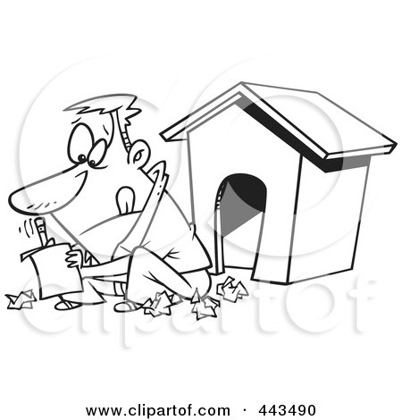 Royalty-Free (RF) Clip Art Illustration of a Cartoon Black And White Outline Design Of A Man Writing A Letter By A Dog House by toonaday