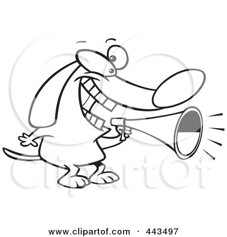 Royalty-Free (RF) Clip Art Illustration of a Cartoon Black And White Outline Design Of A Dog Using A Megaphone by toonaday