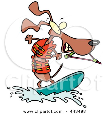 Royalty-Free (RF) Clip Art Illustration of a Cartoon Wakeboarding Wiener Dog by toonaday