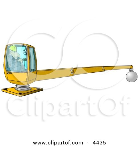 Male Construction Worker Operating A Heavy Equipment Crane Clipart