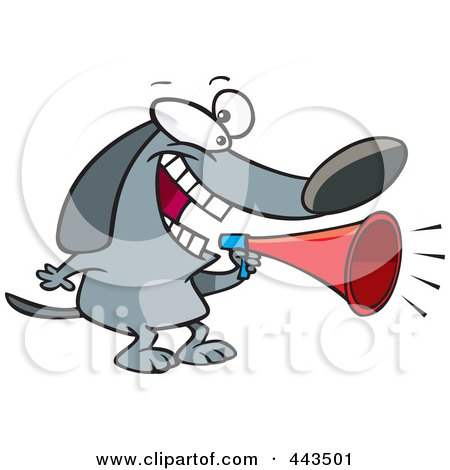 Royalty-Free (RF) Clip Art Illustration of a Cartoon Dog Using A Megaphone by toonaday