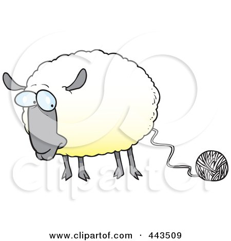 cartoon sheep connected to