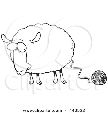 Royalty-Free (RF) Clip Art Illustration of a Cartoon Black And White Outline Design Of A Sheep Connected To Yarn by toonaday