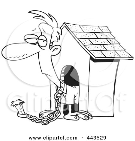 Royalty-Free (RF) Clip Art Illustration of a Cartoon Black And White Outline Design Of A Man Chained By A Dog House by toonaday