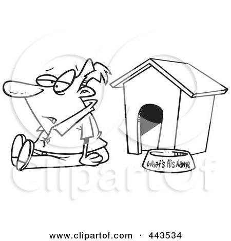 Royalty-Free (RF) Clip Art Illustration of a Cartoon Black And White Outline Design Of A Man Sitting By A Dog House by toonaday