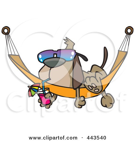 Royalty-Free (RF) Clip Art Illustration of a Cartoon Dog Lounging On A Hammock by Ron Leishman