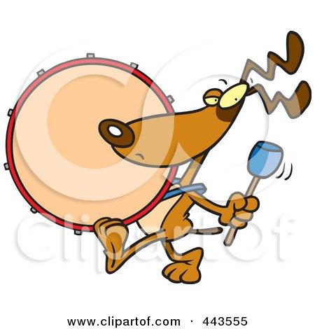 Royalty-Free (RF) Clip Art Illustration of a Cartoon Drummer Dog by toonaday