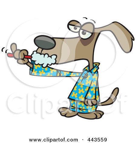Royalty-Free (RF) Clip Art Illustration of a Cartoon Dog Brushing His Teeth by toonaday