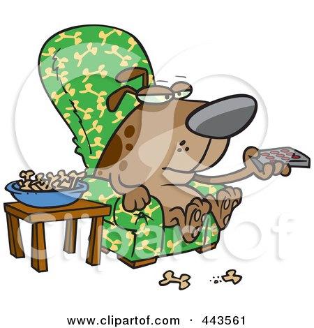 Cartoon Dog Munching On Bones And Watching Tv Posters, Art Prints