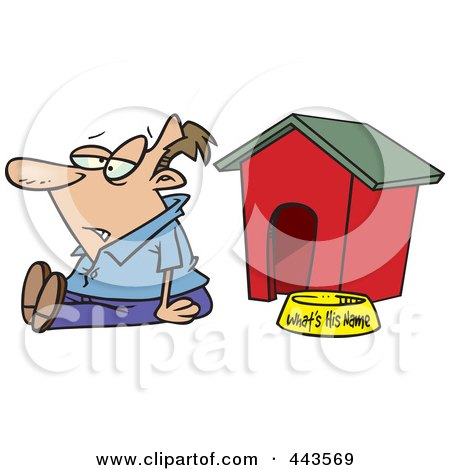 Royalty-Free (RF) Clip Art Illustration of a Cartoon Man Sitting By A Dog House by toonaday