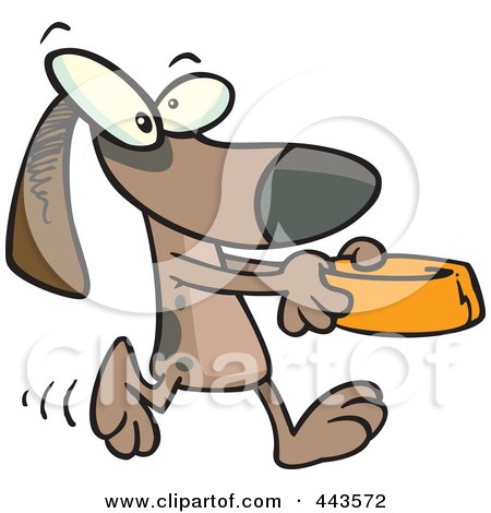 Royalty-Free (RF) Clip Art Illustration of a Cartoon Dog Carrying A Dish by toonaday