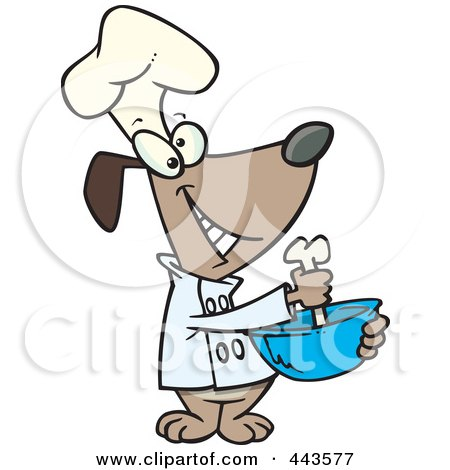 Royalty-Free (RF) Clip Art Illustration of a Cartoon Chef Dog Mixing With A Bone by toonaday