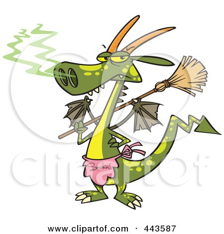 Royalty-Free (RF) Clip Art Illustration of a Cartoon Dragon Wearing An Apron And Holding A Broom by toonaday