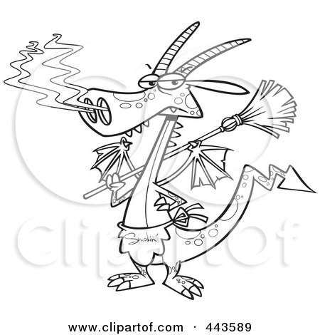 Royalty-Free (RF) Clip Art Illustration of a Cartoon Black And White Outline Design Of A Dragon Wearing An Apron And Holding A Broom by toonaday