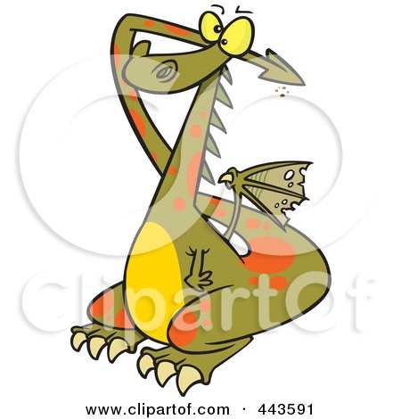 Royalty-Free (RF) Clip Art Illustration of a Cartoon Dragon Covering His Ears by toonaday
