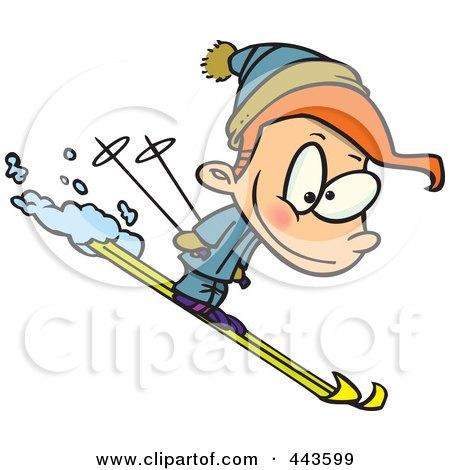 Royalty-Free (RF) Clip Art Illustration of a Cartoon Boy Skiing by toonaday