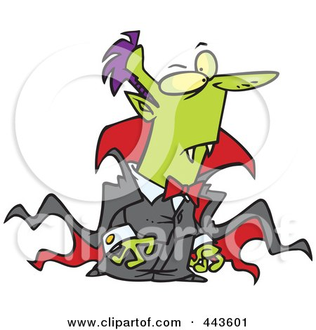 Royalty-Free (RF) Clip Art Illustration of a Cartoon Vampire In A Long Cape by toonaday