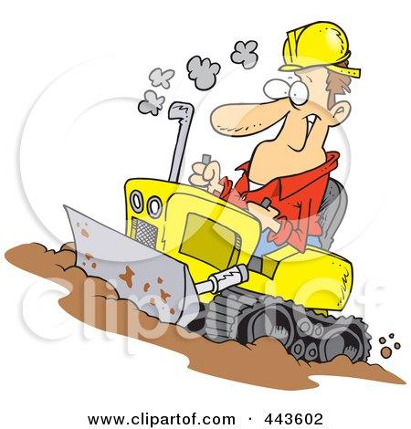 Royalty-Free (RF) Clip Art Illustration of a Cartoon Man Operating A Bulldozer by toonaday