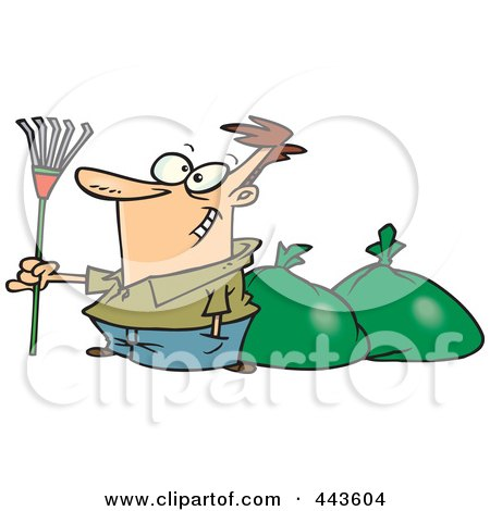Royalty-Free (RF) Clip Art Illustration of a Cartoon Man Finished Raking Leaves by toonaday