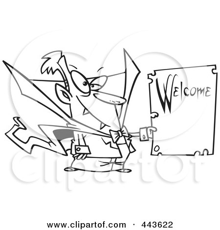 Royalty-Free (RF) Clip Art Illustration of a Cartoon Black And White Outline Design Of A Vampire Holding A Welcome Sign by toonaday