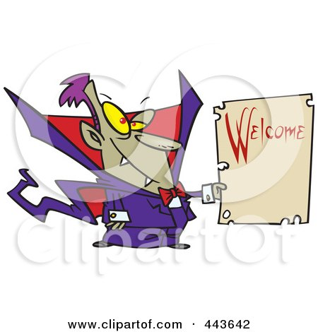 Royalty-Free (RF) Clip Art Illustration of a Cartoon Vampire Holding A Welcome Sign by toonaday