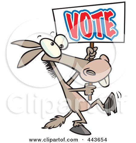 Royalty-Free (RF) Clip Art Illustration of a Cartoon Donkey Carrying A Vote Sign by toonaday