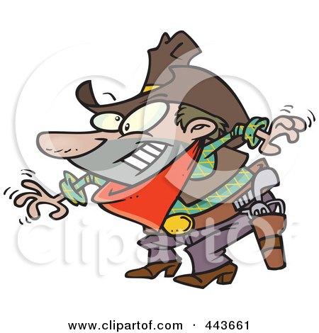 Royalty-Free (RF) Clip Art Illustration of a Cartoon Cowboy Drawing His Guns by toonaday