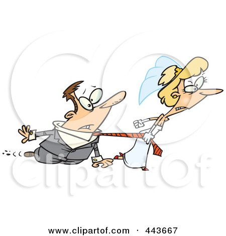 Royalty-Free (RF) Clip Art Illustration of a Cartoon Bride Dragging Her Groom by toonaday