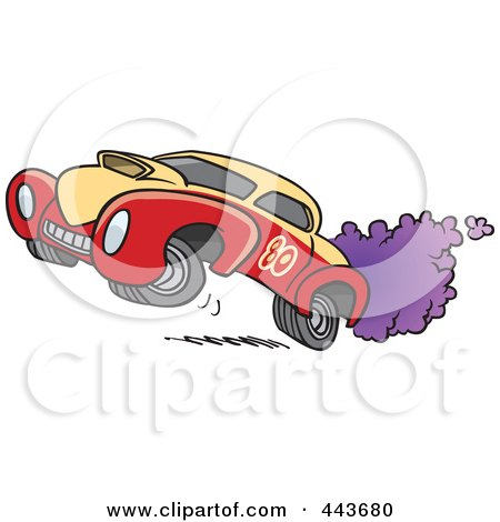 Royalty-Free (RF) Clip Art Illustration of a Cartoon Dragster by toonaday