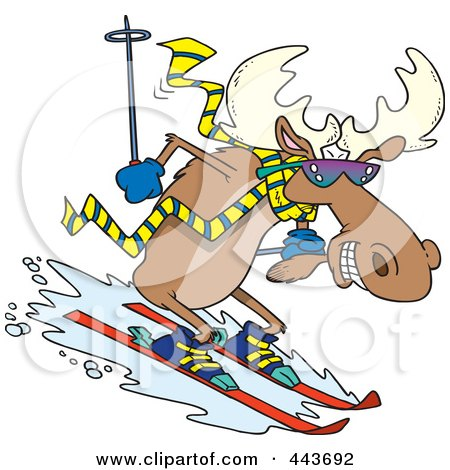 Royalty-Free (RF) Clip Art Illustration of a Cartoon Moose Skiing Downhill by toonaday