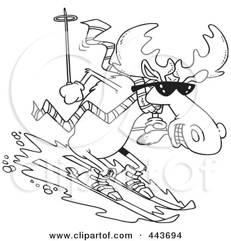 Royalty-Free (RF) Clip Art Illustration of a Cartoon Black And White Outline Design Of A Moose Skiing Downhill by toonaday