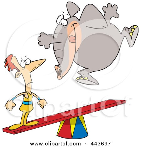 Royalty-Free (RF) Clip Art Illustration of a Cartoon Elephant Jumping On A See Saw To Make A Stunt Man Fly by toonaday
