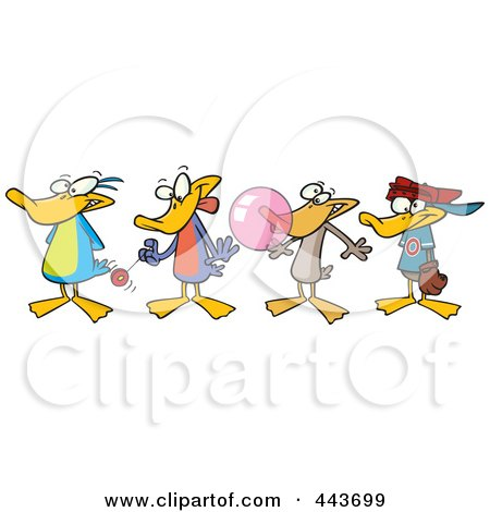 Royalty-Free (RF) Clip Art Illustration of Cartoon Ducks In A Row by toonaday