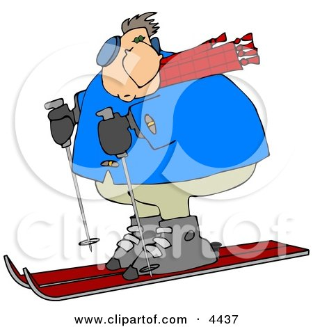 Overweight Man Snow Skiing Down a Winter Ski Slope Covered with Snow Clipart by djart