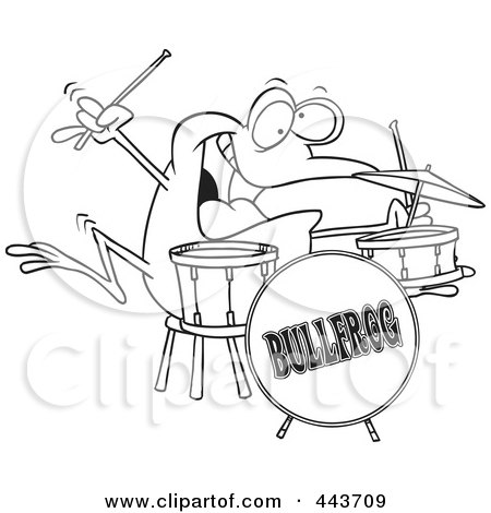 Royalty-Free (RF) Clip Art Illustration of a Cartoon Black And White Outline Design Of A Drummer Frog by toonaday