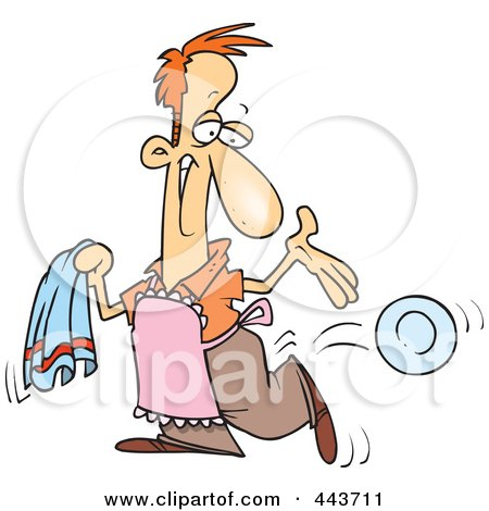 Royalty-Free (RF) Clip Art Illustration of a Cartoon Happy Man Drying The Dishes by toonaday