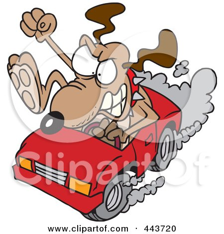 Royalty-Free (RF) Clip Art Illustration of a Cartoon Driving Dog With Road Rage by toonaday