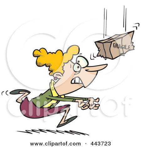 Royalty-Free (RF) Clip Art Illustration of a Cartoon Woman Catching A Fragile Package by toonaday