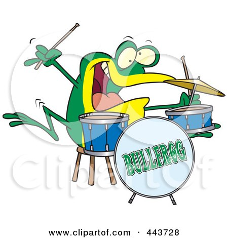 Royalty-Free (RF) Clip Art Illustration of a Cartoon Drummer Frog by toonaday