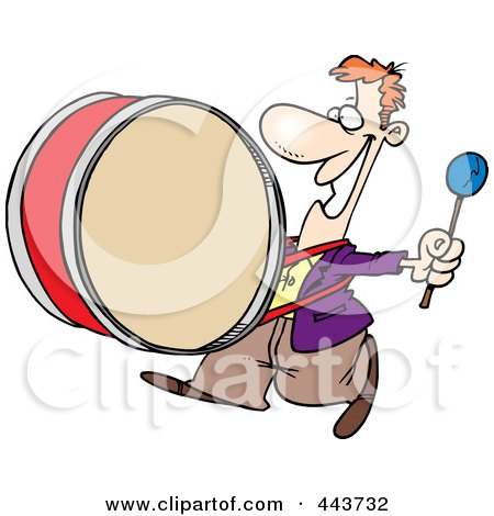Royalty-Free (RF) Clip Art Illustration of a Cartoon Happy Drummer by toonaday