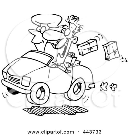 Royalty-Free (RF) Clip Art Illustration of a Cartoon Black And White Outline Design Of A Couple In A Car, Dropping Packages by toonaday