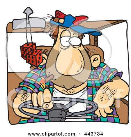 Royalty-Free (RF) Clip Art Illustration of a Cartoon Big Man Driving by toonaday