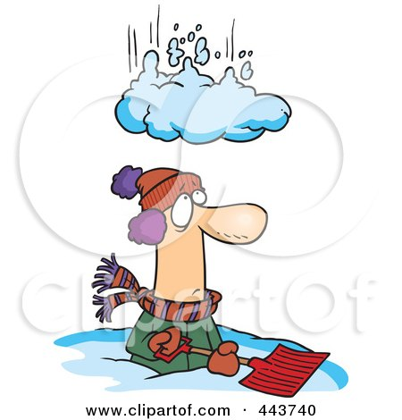 Royalty-Free (RF) Clip Art Illustration of a Cartoon Pile Of Snow Falling On A Man by toonaday