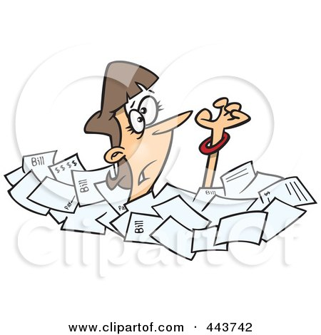 Royalty-Free (RF) Clip Art Illustration of a Cartoon Businesswoman Drowning In Papers by toonaday