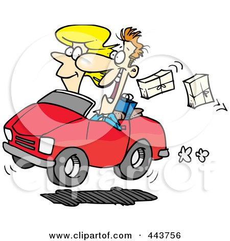 Royalty-Free (RF) Clip Art Illustration of a Cartoon Couple In A Car, Dropping Packages by toonaday